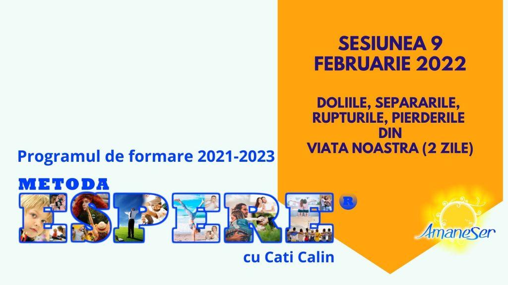 Sesiunea 9 Februarie 2022 Doliile, separarile, rupturile, pierderile din viata noastra (2 zile)